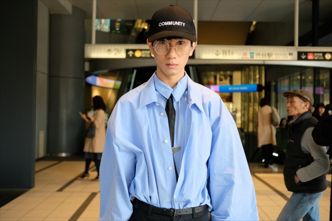 DSCF3041 シャツ 水色 キャップ 帽子 ドレスド 重ね着 r_R